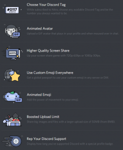 List of Discord Nitro Perks in the current stable version of Discord.