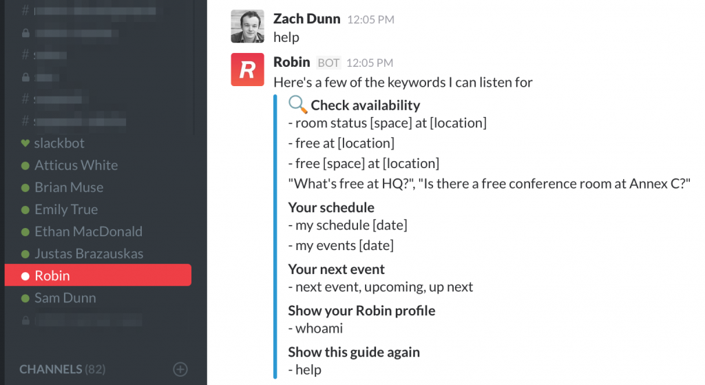 Example of Slack bot in action. Image credit: Robin Help Center