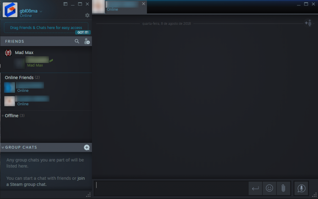 The recently introduced Steam Chat UI
